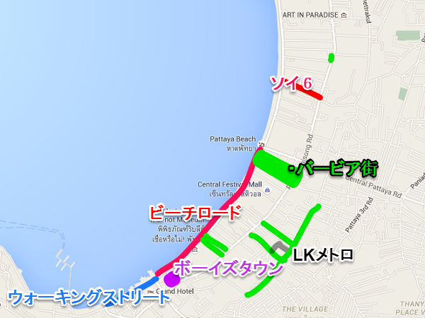 pattaya nightspot sightseeing map